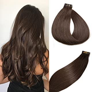 SeaShine Tape in Hair Extensions #2 Dark Brown 100% Remy Human Hair Extensions Silky Straight for Fashion Women 20 Pcs/Package(16Inch #2 30g)