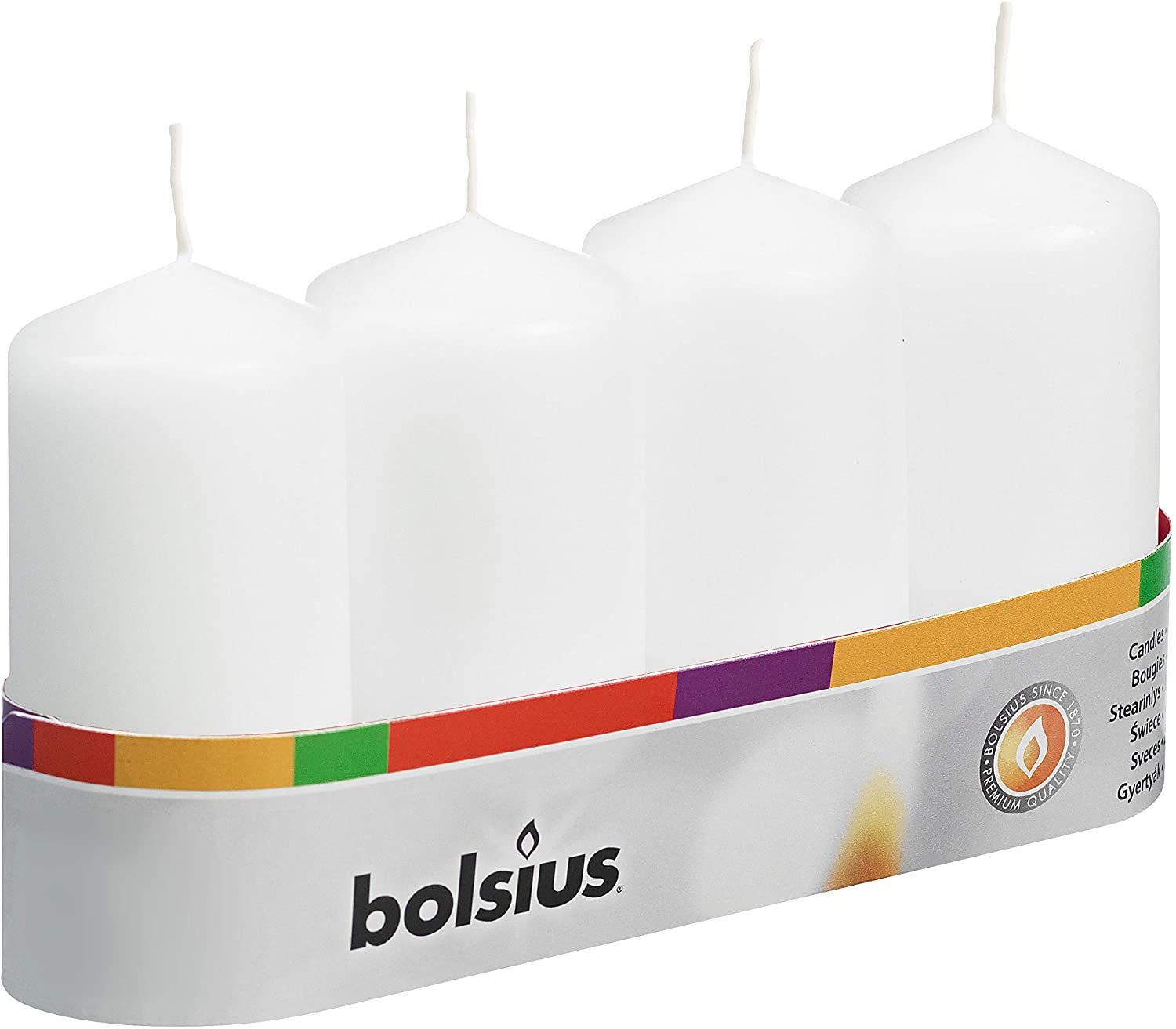 Bolsius Pillar Candles 100 50 Department store of Tray White 4 Max 86% OFF