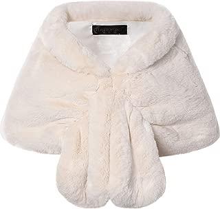 Womens Faux Fur Collar Shawl Faux Fur Scarf Wrap Evening Cape for Winter Coat