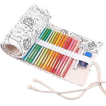 Yanhonin Trousse /à Crayon Enroulable pour 12-72 Crayons De Couleur Sacs Organiseurs De Toile Porte-Crayons Pochettes Rouleaux Enveloppe De Crayon Kawaii