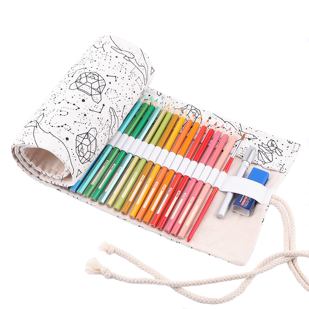 Abaría - Bolso para lápices, Grande Estuche Enrollable para 72 lapices Colores, portalápices de Lona, Bolsa Organizador lápices para Infantil Adulto, Constelación 72: Amazon.es: Electrónica