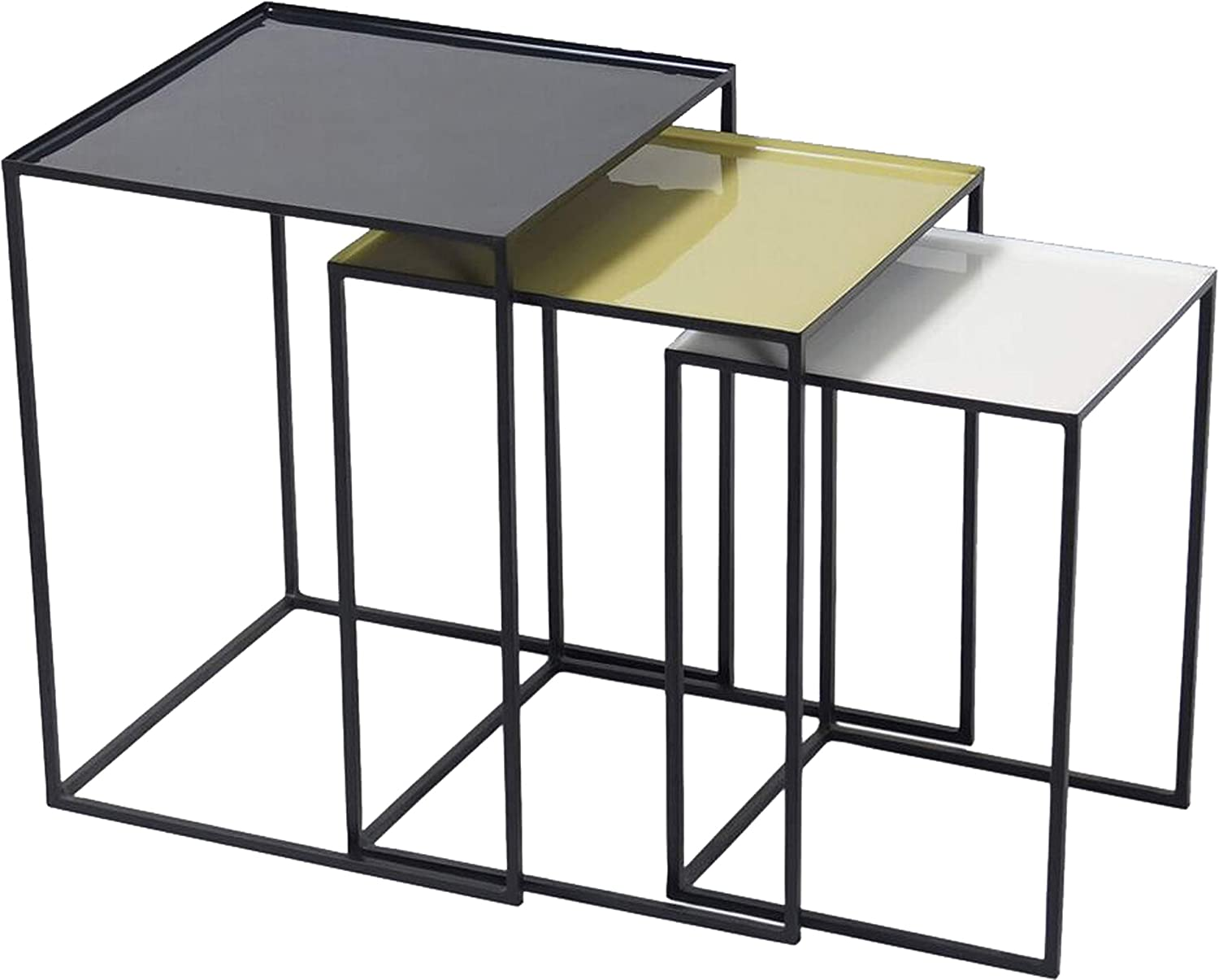 Renwil Inc TA215 Arrie - 21  Medium Accent Table (Set of 3), Black Enamel Finish