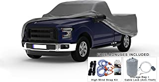 Weatherproof Truck Cover Compatible with 1957-1983 Ford F-100 & F-250 Regular Cab~6.5 Ft Bed - 5L Outdoor & Indoor - Protect from Rain, Snow, Hail, Sun - Theft Cable Lock, Bag & Wind Straps
