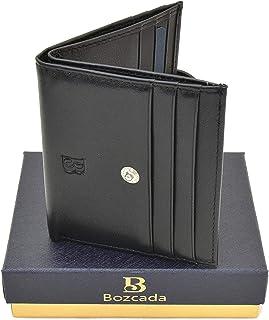 محفظة بوزكادا جلد اسود طبيعي 12 كروت