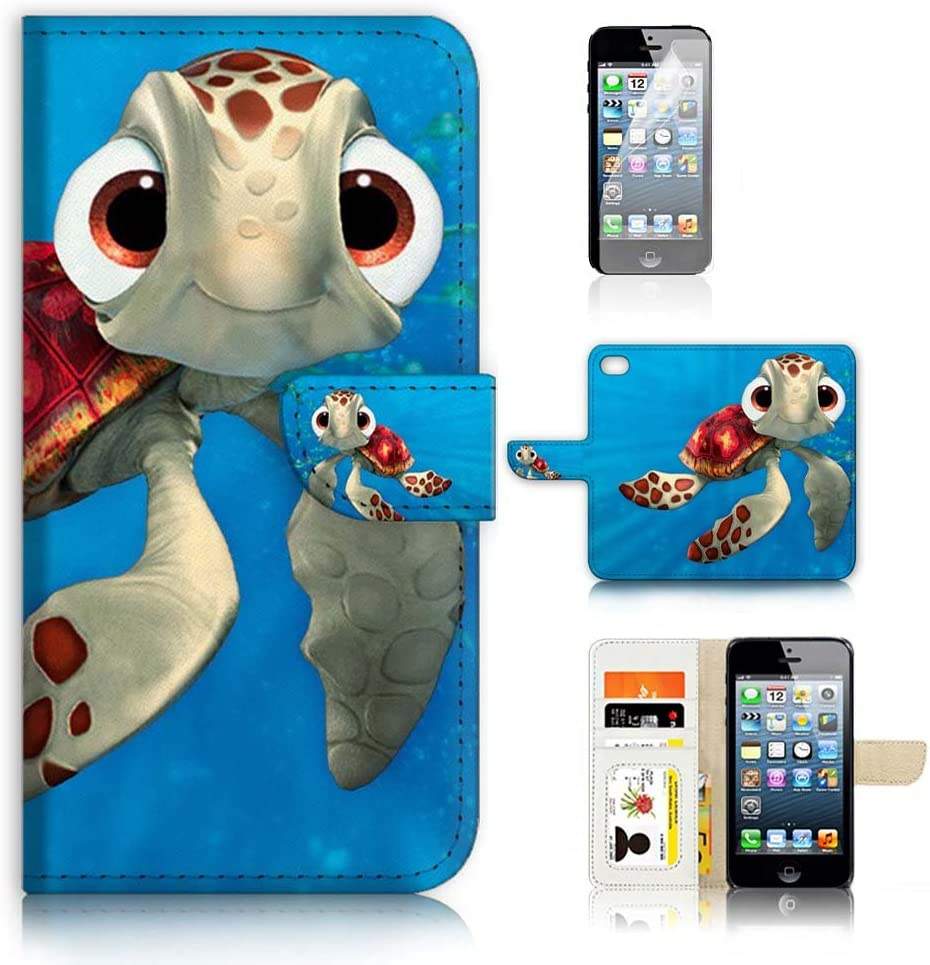 (for iPhone 6 Plus/iPhone 6S Plus) Flip Wallet Case Cover & Screen Protector Bundle - A21273 Cartoon Turtle