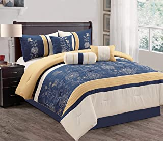 Grand Linen Modern 7 Piece QUEEN Bedding Navy Blue/Grey/Yellow Embellished Holiday Comforter Set with accent pillows