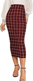 Verdusa Women's Elegant Plaid Elastic Waist Bodycon Midi Skirt