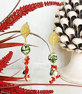 Orecchini con sfere in ceramica di Caltagirone e Corallo rosso