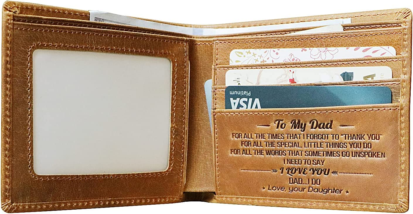 Mens Wallets-To My Dad,Daughter to Dad Biford Leather Wallets,Engraved Wallets for Men for Father's day gift