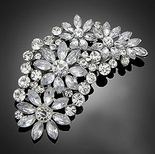 De la vendimia del gran de la novia de flores de coloures plata de imitación de cristal de broche de 7,2 cm (BR077)