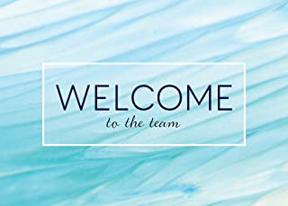 Welcome Greeting Cards - W1801. Business Greeting Card Featuring a Welcome To The Team Message on a Blue Waves Background. Box Set Has 25 Greeting Cards and 26 Bright White Envelopes.