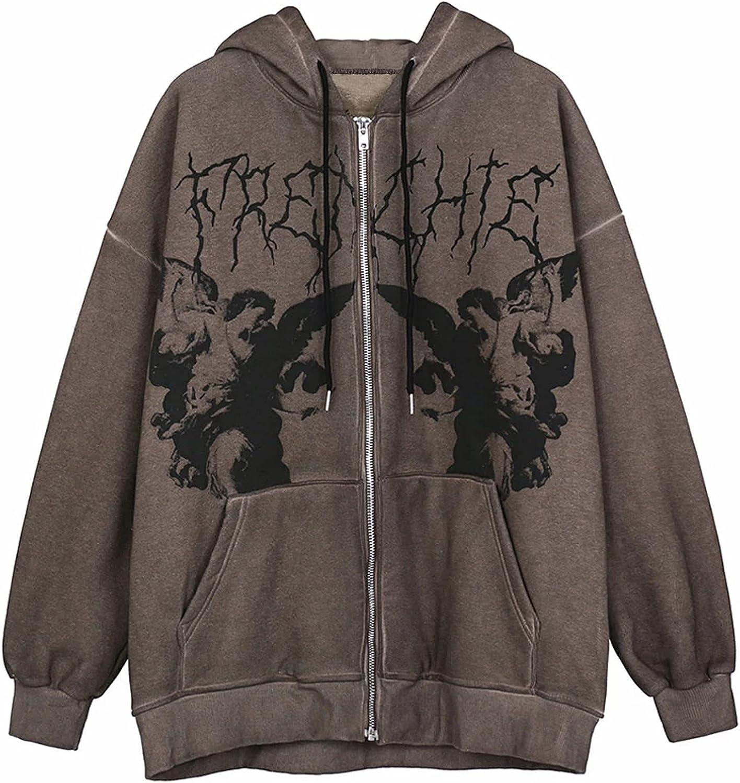 Women's Y2K Cute Angel Printed Oversized Sweatshirt Zip Up Hoodies Coat Long Sleeve E-Girl Streetwear