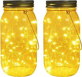 Solar Mason Jar Lights, Large Size Bigger Glass Mason Jar with 30 LEDs Fairy Firefly String Lights, Best Patio Yard Desktop Party Decor Outdoor Solar Hanging Lanterns