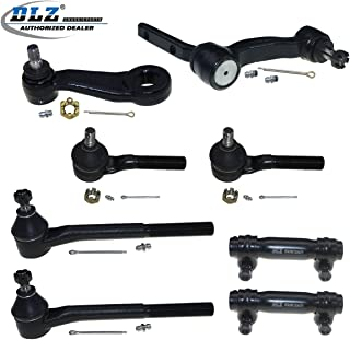 DLZ 8 Pcs Front Kit-Inner Outer Tie Rod Ends Adjusting Sleeve Idler Arm Pitman Arm Compatible with 4WD 1998-2005 Chevrolet Blazer 1998-2004 Chevrolet S10 1998-2005 GMC Jimmy 1998-2004 GMC Sonoma