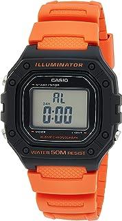 ساعة راتينج مربعة رقمية للجنسين من كاسيو W-218H-4B2VDF، برتقالي