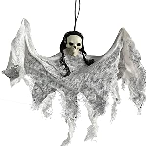 Arkutor Halloween Hanging Ghost, 13.7 Inch Halloween Prop Skull Skeleton Party Decoration,Scary Grim Reaper with Bendable Arms,Perfect for Home Garden Kitchen Supplies Décor (White, One Size)