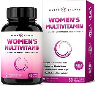 Women's Daily Multivitamin Supplement - Vegan Capsules with Biotin, Vitamins A B C D E K, Calcium, Zinc, Lutein, Magnesium...
