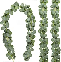 CEWOR 3 Packs Aartificial Eucalyptus Garland Artificial Vines Faux Silver Dollar Eucalyptus Plants for Wedding Party Home Decoration