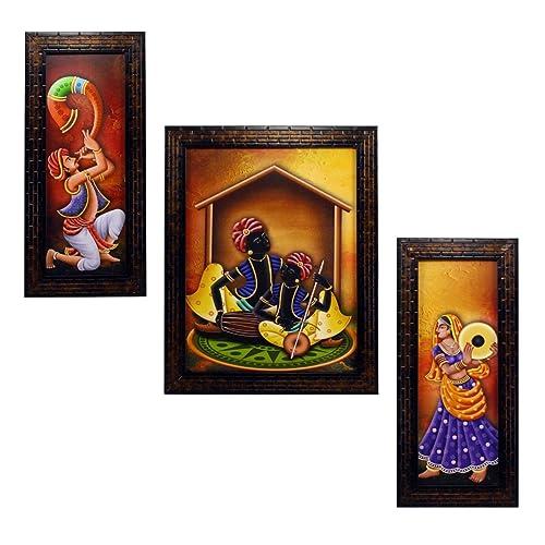 a2624da20e18 INDIANARA 3 PC Set of Rajasthani Folk Music   Dance Paintings (1084)  Without Glass