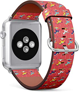 Compatible with Apple Watch Serie 4/3/2/1 (Big Version 42/44 mm) Leather Wristband Bracelet Replacement Accessory Band + Adapters - Carousel Horses Amusement