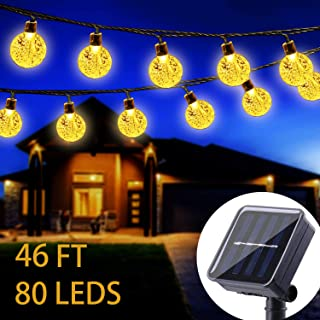 WERTIOO Solar String Lights 46ft 80 LEDs, Outdoor Solar Power Globe Lights Waterproof Crystal Ball Lighting for Patio, Lawn, Garden, Wedding, Party, Christmas Decorations (Warm White)