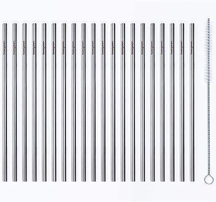 Canudos Inox Reto - Kit com 20 Unidades e Escova Beegreen