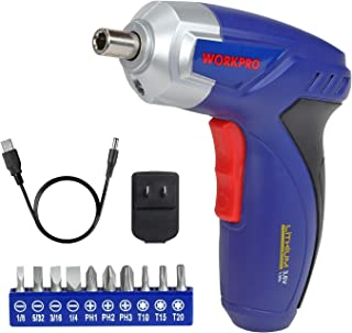 WORKPRO Cordless Rechargeable Screwdriver Set 3.6V Lithium-Ion with Battery,Power Screw Gun with USB Charger and Bits Set, For Home DIY