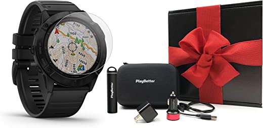 Garmin Fenix 6X Pro (Black with Black Band) Gift Box Bundle | +HD Screen Protectors, PlayBetter Portable Charger, Car/Wall Adapters & Protective Hard Case | Multisport Fitness Watch