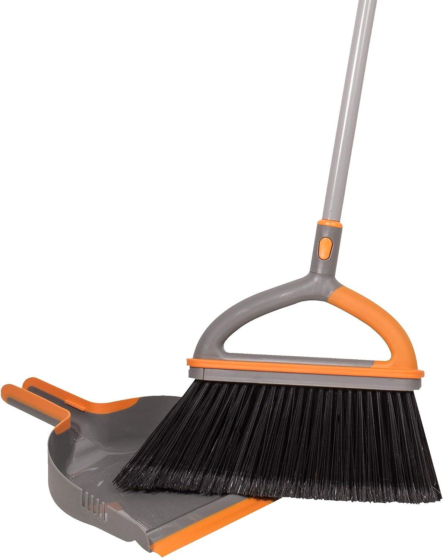 Casabella Ergo Broom Plus San Jose Mall 4 years warranty Dustpan Orange with