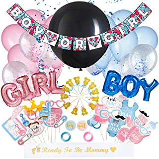 All-In-One Baby Gender Reveal Party Supplies Kit - Adorable Balloon Decorations Set - Boy Or Girl Banner, Blue & Pink Foil Balloons, Heart Shaped Confetti, Ribbons & Photo Props