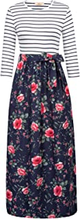 GRACE KARIN Women's Striped Floral Print Maxi Dress with Pockets