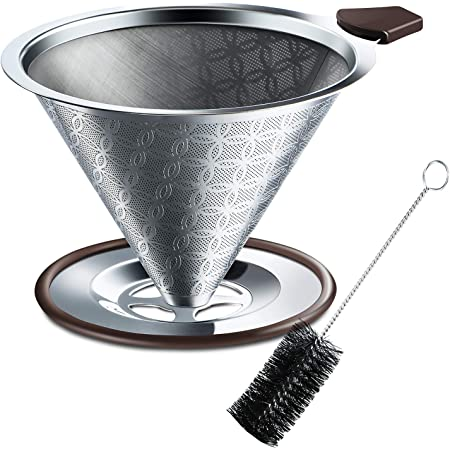 SRIWATANA コーヒードリッパー ステンレスフィルター 改良版 2層メッシュ 一体式 洗浄用ブラシ付き 4杯用