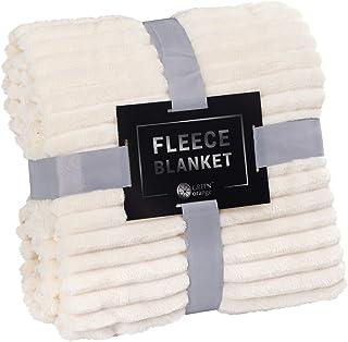 GREEN ORANGE Fleece Blanket King Size – 108×90, Lightweight, Milky White – Soft,..