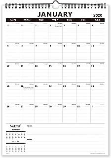Nekmit 2020 Monthly Wall Calendar, Wirebound, Ruled Blocks,17 x 12 Inches,Black