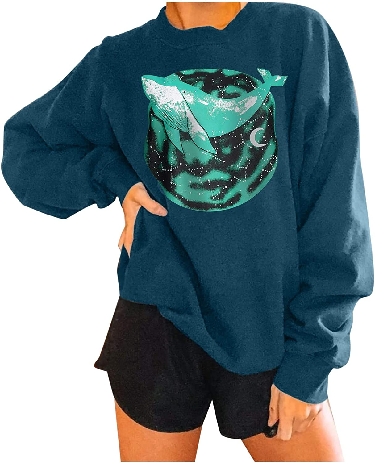 nunonette Women's Casual Fashion Round Neck Waves Whale Printed Long Sleeve Mid-Length Top Pullover Sweatshirt Loose Shirts