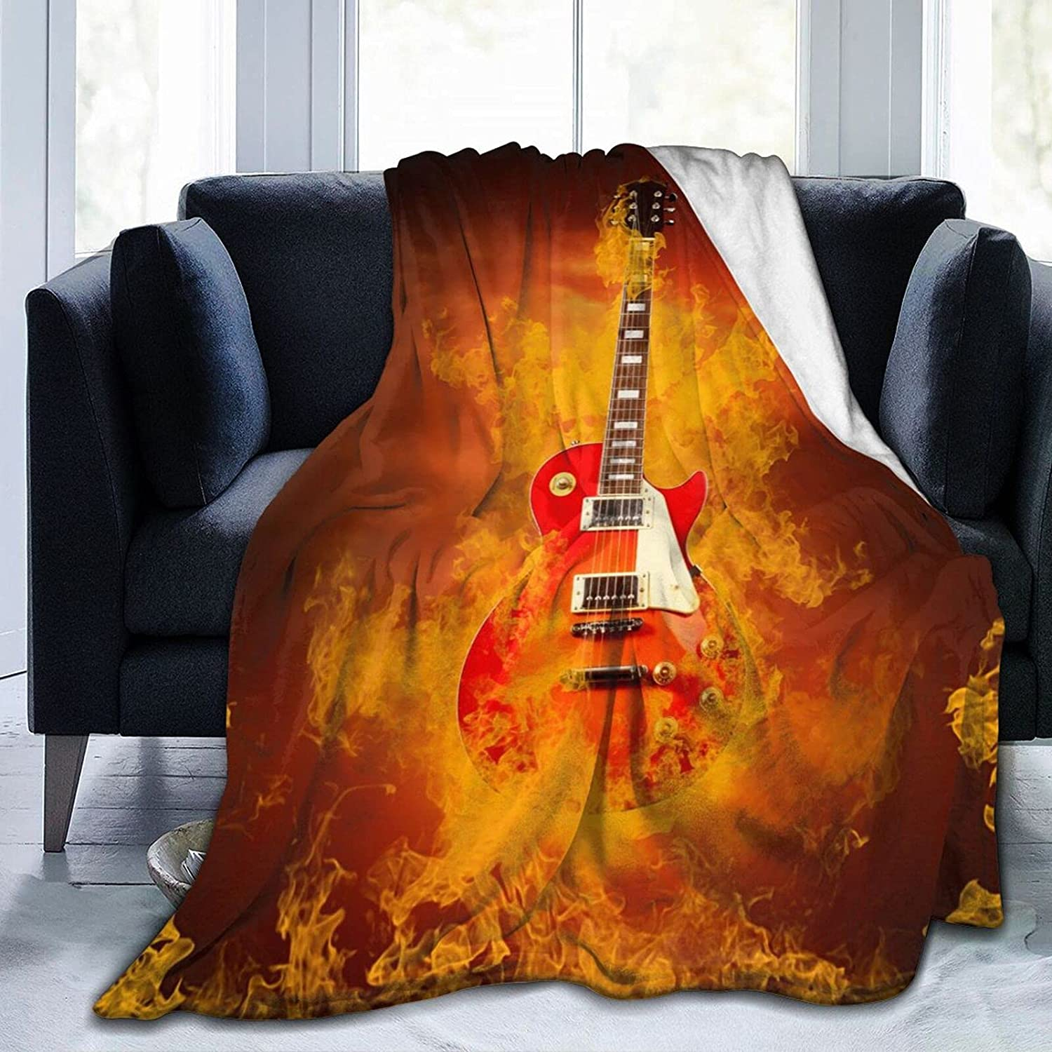 RISETRIAL Recommended Rock Guitar in Flames mart Blanket fire Ultra-Soft Throw of