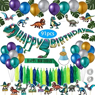91 Pack Dinosaur Party Supplies | Huge T-rex Banner and Dino Party Decorations Set for Kids | Jurassic World Themed Birthday Party or Baby Shower party| Set of 91 Premium Accessories