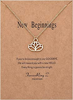 ForeveRing Z Message Card Good Luck Card Lotus Necklace Lucky Elephant Pendant Necklace Woman Jewelry