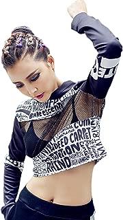 Cool Girls Trendy Womens Sport Net Material Hoodie Cropped Top Hip Hop Printed Street Dance