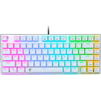 E-Element Z-88 60% RGB Mechanical Gaming Keyboard, Red Switch, LED Backlit, Water Resistant, Compact 81 Keys Anti-Ghosting for Mac PC, White