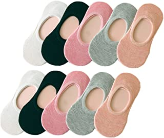 Tuopuda, 10 Pares Calcetines Invisibles Mujer De Algodón Calcetines Cortos Elástco Con Silicona Antideslizante