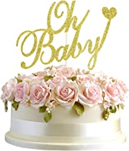 Junucubo Oh Baby Cake Topper Baby Shower Favors Gold Glitter Cake Decoration Supplies Gold Cake Topper Handmade Oh Baby Cake Topper Glitter Gender Reveal Parties for Boys and Girls