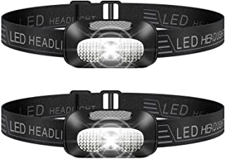 SYOSIN LED Head Torch, 2 Pack Lightweight Headlamp, USB Rechargeable Super Bright Waterproof Headlight for Camping, Climbi...