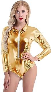 Tuta Sportiva da Donna Costume da Bagno Bikini Metallizzato Mode di Marca Costume da Bagno Sportivo Tuta Body in Pelle Verniciata Lingerie Beach Fashion Summer Body Aderente da Magro
