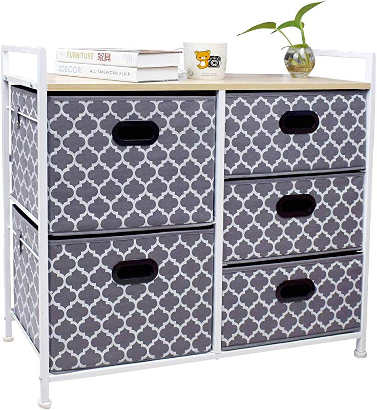 Wide Dresser Storage Tower 5 Drawer Chest Sturdy Steel Frame Wood Top Easy Pull Fabric Bins Organizer Unit For Bedroom Playroom Entryway Closets Lantern Printing Gray White