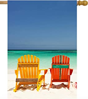 """ShineSnow Summer Exotic Tropical Colorful Chairs On Beach Sea Ocean Nature House Flag 28"""" x 40"""" Double Sided Polyester Wel..."""