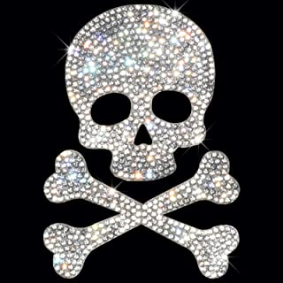 HungMieh Bling Car Decals, Crystal Car Décor, Rhinestone Car Accessories for Women, Diamond Car Stickers and Decals for Motorcycle Helmet Laptop Tumbler Luggage Guitar, Skull and Bone