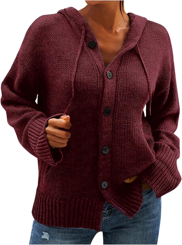 YfiDSJFGJ Women's Fashion Hoodies & Sweatshirts Long Sleeve Shirts V-Neck Hooded Knit Chunky Knit Cardigan
