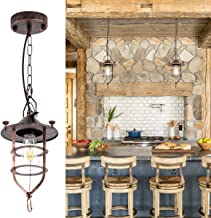 Industrial Pendant Light with Adjustable Chain Oil Rubbed Bronze Hanging Pendant Light Farmhouse Rustic Cage Pendant Lighting Fixture for Kitchen Island Dining Room Entry Hallway