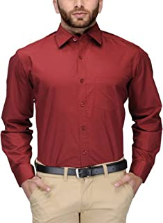 BEING FAB Men's Solid Cotton Blend Regular Fit Formal Maroon Shirt
